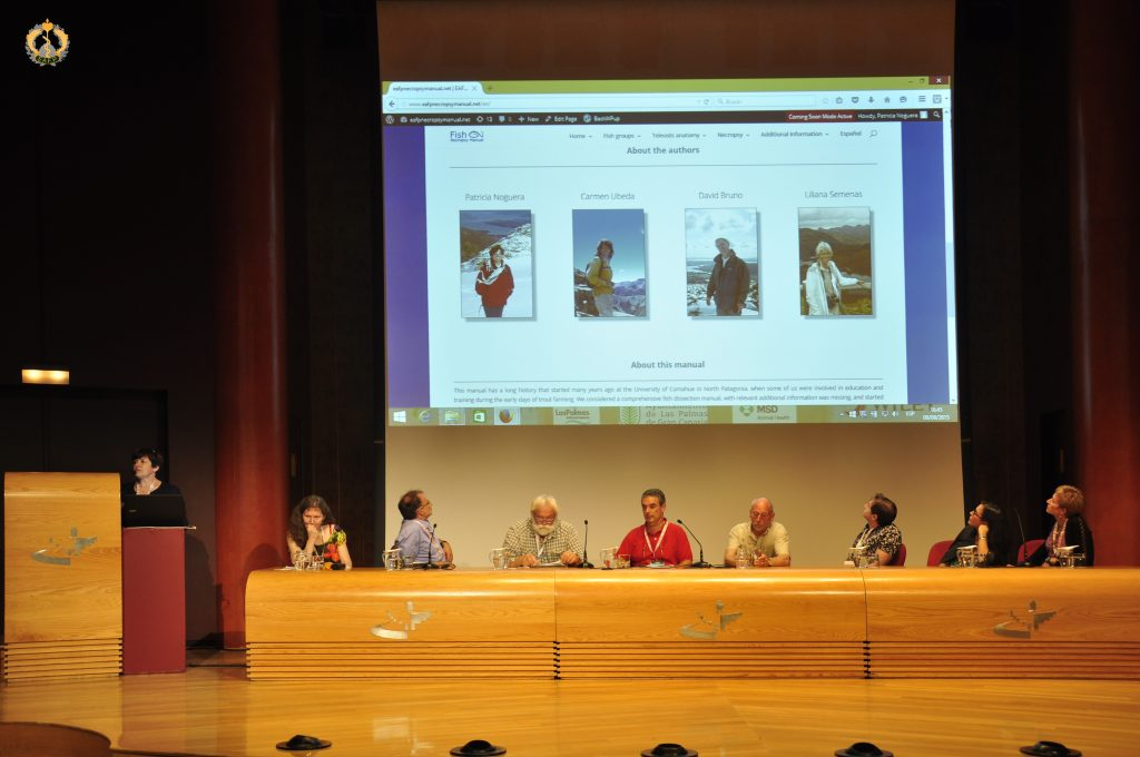 Patricia Noguera presenting the Fish Necropsy Manual during the General Assembly at the 17th EAFP International Conference in Las Palmas de Gran Canaria, Spain. Photo B.Gorgoglione.