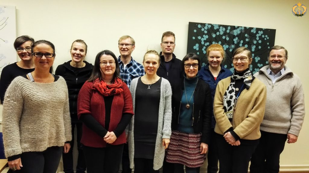Happy faces after the meeting: Top row left: Lotta-Riina Sundberg, Hanna Ahonen, Jouni Taskinen, Anssi Karvonen, Riikka Holopainen, Perttu Koski. Front row left: Anna Maria Eriksson-Kallio, Katja Pulkkinen, Heidi Kunttu, Päivi Rintamäki, Satu Viljamaa-Dirks (the Finnish EAFP branch officer).